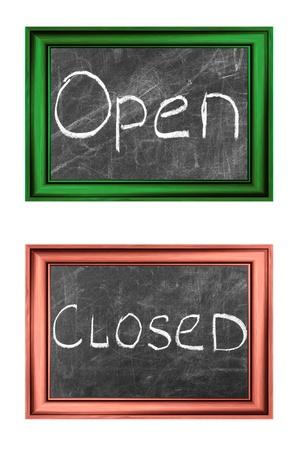 Open en gesloten tekenen wit krijt handschrift in hout frames