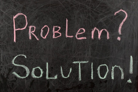 Problem and Solutions written with chalk on a blackboard photo