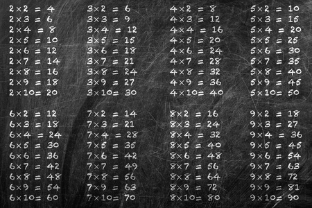 Moltiplicazione tabella manoscritta con gesso bianco sulla lavagna della scuola