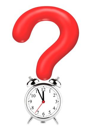answer question: Question Mark rosso con sveglia su uno sfondo bianco Archivio Fotografico