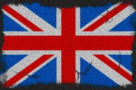 Great Britain grunge scratched flag a black asphalt Stock Photo