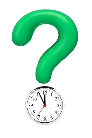Green Question Mark with Alarm Clock on a white background photo