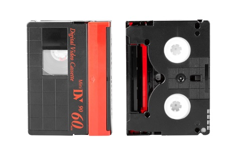 Mini DV magnetic tape on a white background Stock Photo - 13474003
