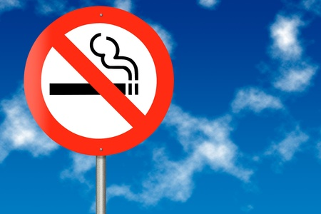 No Smoking traffic sign on a sky background photo