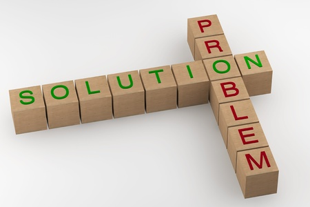Problem and Solution wooden blocks crossword on a white background photo