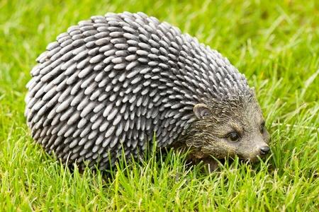 Closeup toy Hedgehog on a green grass photo