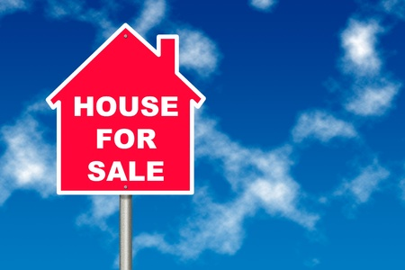 house for sale: Red House for Sale notice board traffic sign over blue sky background