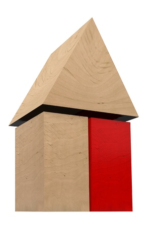 forsale: Construction concept. Wooden block house wih red block on a white background