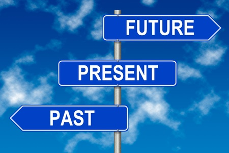 improvement: Past Present Future traffic sign on a sky background