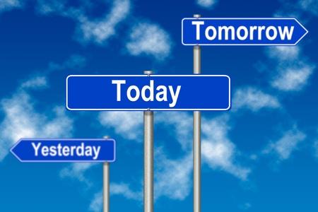 Tomorow Ayer Hoy las señales de tráfico en un fondo del cielo