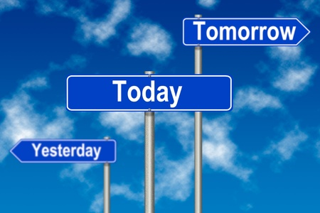 yesterday: Yesterday Tomorow Today traffic sign on a sky background Stock Photo