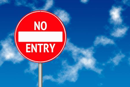 no entry sign: No entry board traffic sign over blue sky background