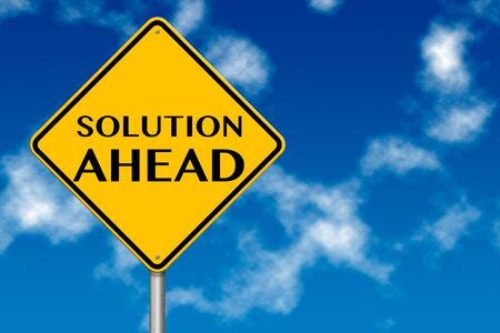 Solution ahead sign showing business concept on a sky background Stock Photo