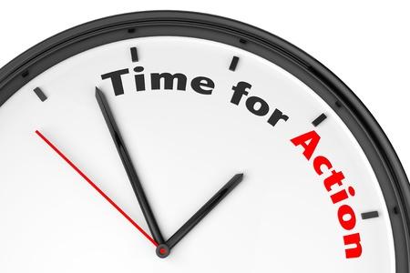 Tid för åtgärd koncept. Modern klocka med skylt på en vit bakgrund