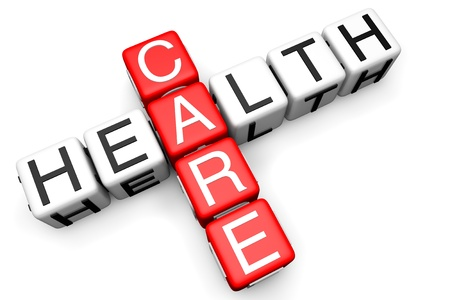 Health Care-konceptet. Anmäl som korsord block på en vit bakgrund