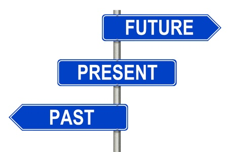 Past Present Future traffic sign on a white background Stock Photo