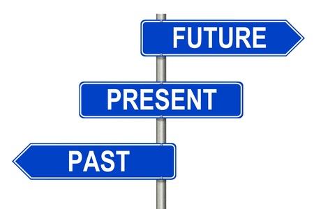 Past Present Future trafik skylt på en vit bakgrund