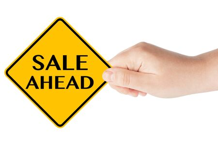marked: Sale Ahead traffic sign with hand on the white background
