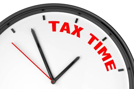 Tax Time concept. Modern clock with sign on a white background photo