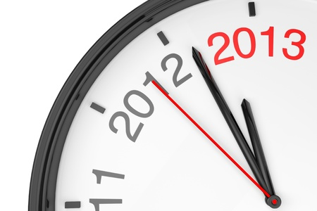 The year 2013 is approaching. 2013 sign with a clock on a white background