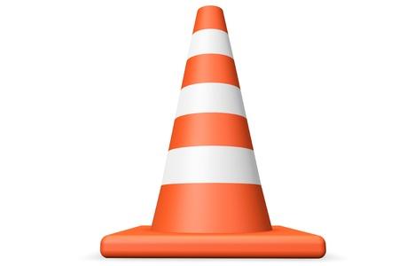 Orange closeup Traffic cone on a white background