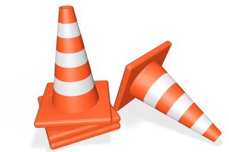 Orange closeup Traffic cones on a white background Stock Photo - 13830354