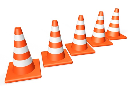 road marking: Orange closeup Traffic cones on a white background Stock Photo