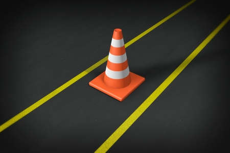 Orange closeup Safety Traffic Cones on an asphalt road Stock Photo - 13866494