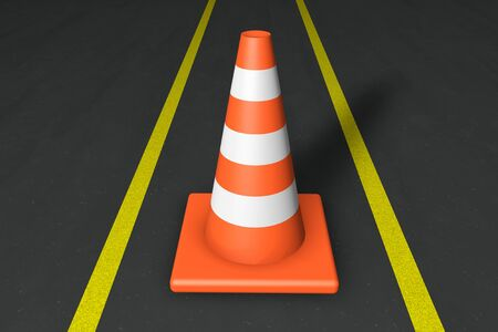 Orange closeup Safety Traffic Cones on an asphalt road photo