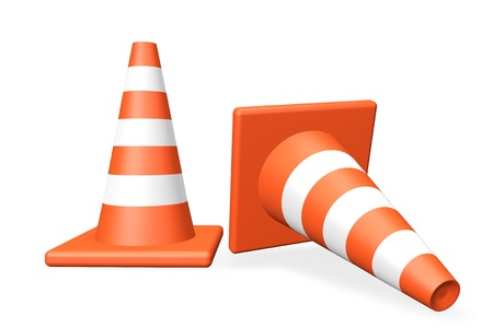 Two closeup Traffic cones on a white background Stock Photo - 13830366