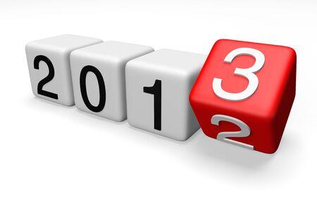 Block med övergången från år 2012 till 2013 på en vit bakgrund Stockfoto