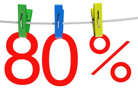 80 percent sale symbol with the clothespins on a white background  photo
