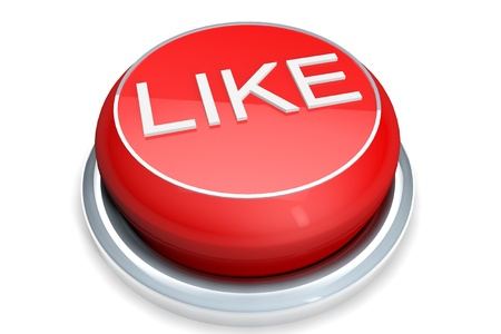 A red button with the Like word on a white background photo