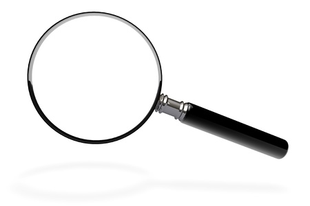 Closeup magnifying glass on a white background Stock Photo - 13943362