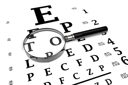 Closeup Magnifier Glass Over Eye Testing Chart Stock Photo Picture