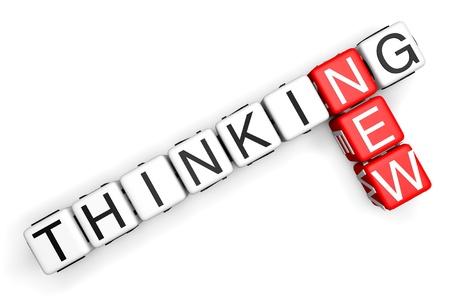 new thinking: Thinking Nuovo concetto. Registrati come blocchi crociate su uno sfondo bianco
