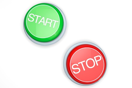 Buttons with the Start and Stop words on a white background photo