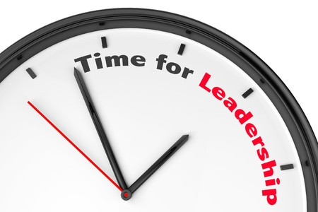 Time for Leadership concept. Modern clock with sign on a white background
