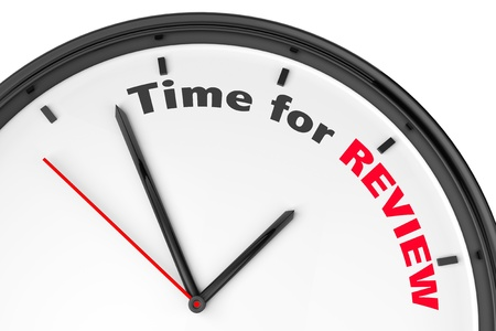 quizzing: Time for Review concept. Modern clock with sign on a white background Stock Photo