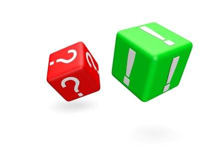 Question and exclamation marks symbols dices rolling on a white background photo