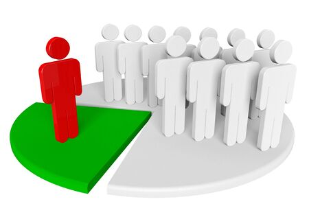 assignation: Team and leader with chart on a white background