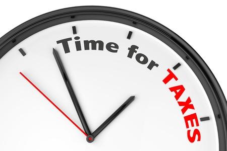 税の概念のための時間。白い背景の上の記号の付いたモダンな時計