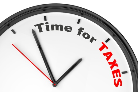Time for Taxes concept. Modern clock with sign on a white background