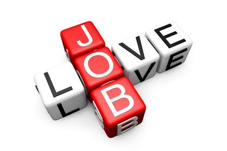 Love Job Crossword Block text on a white background Stock Photo - 14159425