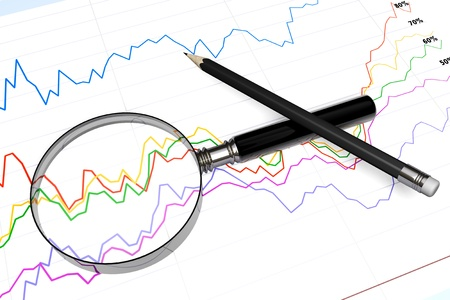 Magnifying glass with pencil over business diagram extreme closeup Stock Photo - 14159451