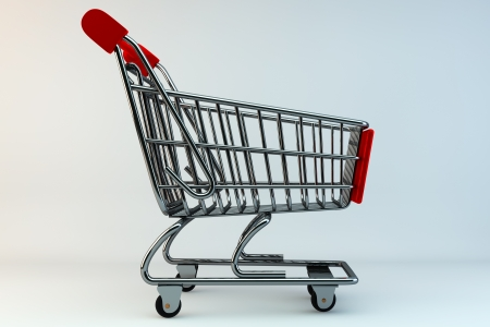 Shopping Concept. Shopping Cart on a grey background Stock Photo - 14159466
