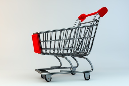 Shopping Concept. Shopping Cart on a grey background photo