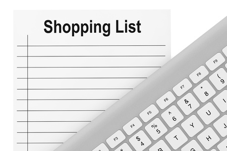Shopping List with computer keyboard on a white background  photo