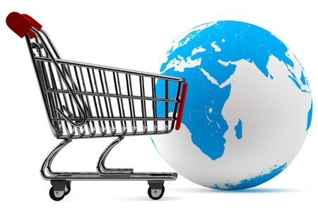 グローバル市場のコンセプトです。白い背景にショッピングカートが付いている地球