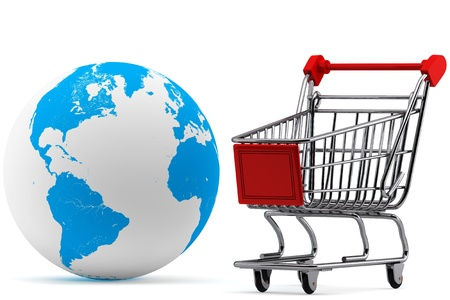 Global market concept. Earth with a Shopping cart on a white background photo